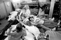 "Mid-week the ""Little Girls'"" dorm is the scene of giddy games and frequent pileups."